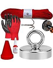 Magnetfiskeset - Fiskemagnet - Magnetisk fiskuppsättning - 250 kg dragkraft – 75 mm – Rep - Handskar - Teleskopiskt handtag Adapter