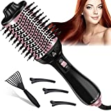 Hair Dryer Brush, 4 in 1 Multifunctional Hot Air Brush and Volumizer, Anti-Frizz Ion Technology Blow Hair Styler for Women, One Step Styling Tool with 3pcs Hair Clips