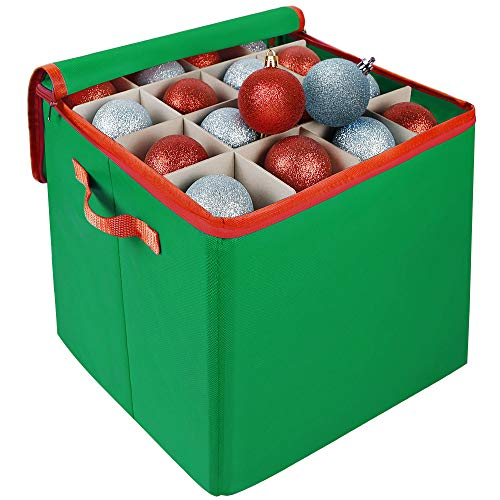 Blissun Christmas Ornament Storage Box, Holiday Ornament Storage Container with 4 Trays Holds Up to 64 Ornaments Ball, with Adjustable Compartments and Carry Handles (Green)