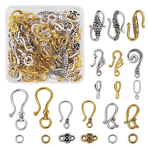 Beadthoven 60 sets de 8 estilos tibetanos de gancho en S cierres de extremo conectores de varios colores para hacer pulseras y joyas