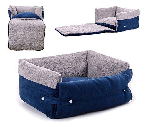 MEDIA WAVE store Poltroncina allungabile Cani Doppia Funzione Cuccia Morbida 82x46x18 di Colore Blu