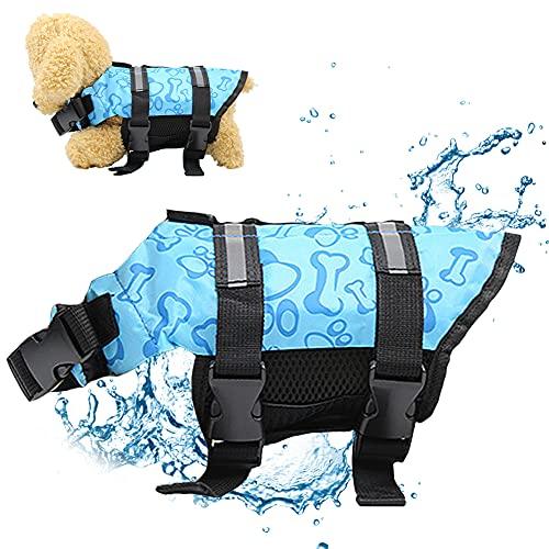 1 piezas Chaleco Salvavidas para Perro Mascota Azul Chaleco Hilloly Salvavidas para Perros Se Utiliza para Entrenar a los perros Domésticos a nadar y Día de Verano Hacer Surf, Con Mango de Rescate