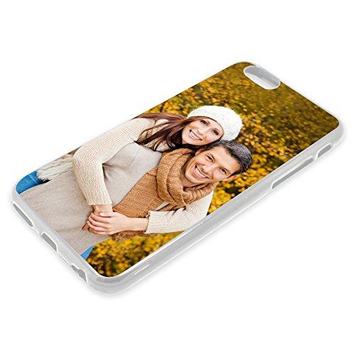 Premium Handyhülle selbst gestalten mit eigenem Foto und Text * Bild Schutzhülle, Hüllentyp: TPU-Silikon/Transparent (Seiten), Kompatibel mit Apple iPhone 7