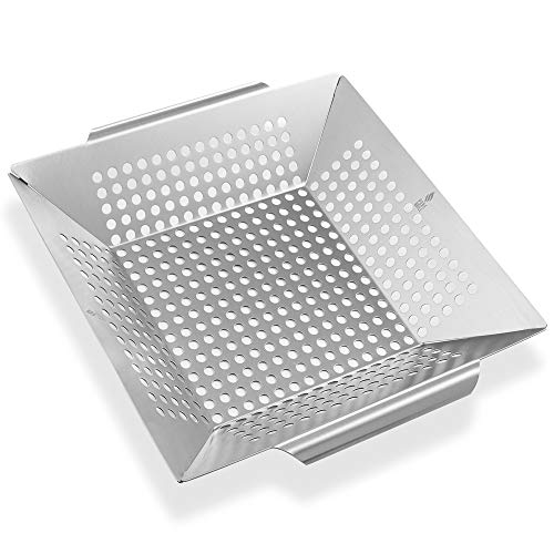 Pure Grill BBQ Vegetable Grilling Basket - Stainless Steel Barbecue Wok Pan Tray