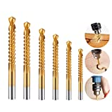 Electomania 6 in 1 Set HSS Titanium Coated Metal Saw Drill Sawtooth Drill Bit Set Woodworking Drilling Wood Metal Cutting Hole Saw 3/4/5/6/6.5/8mm Hacksaw Handware Woodworking Tools