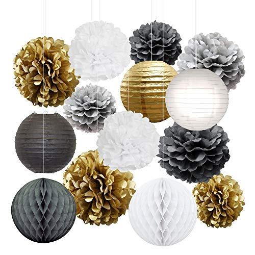 Christmas Decorations Tissue Paper Pom Poms, Lanterns and Balls in Black and Gold