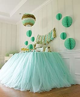Originals Group Tutu Table Skirt, Mint Tulle Tutu Table Skirt Decor, Birthday Event Wedding Party Decoration (Mint)