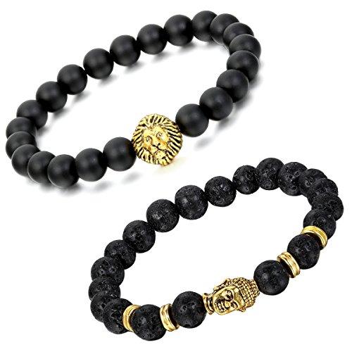 Aroncent 2PCS Herren Damen Lava Armband, Tibetische Gold Buddha-Kopf Löwenkopf Gebet Mala Kugel Perle Energietherapie Armreif Armschmuck Handgelenk, Metalllegierung, Schwarz