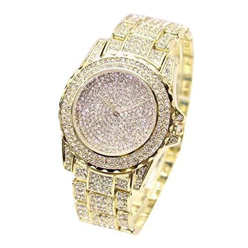 Damen Uhren Analog Quarz Armbanduhr mit Full Strass Lässige mit Edelstahlband Armband Mode Kleid Elegant Beiläufig Quarzuhr Quarz Uhren Geschenke Kleid Watch für Mädchen Frauen (Gold)