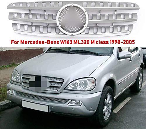 WJHNB Front Sportgrill Mesh Grill Lüftungsblende für Mercedes-Benz W163 ML320 M Klasse 1998-2005 Grau