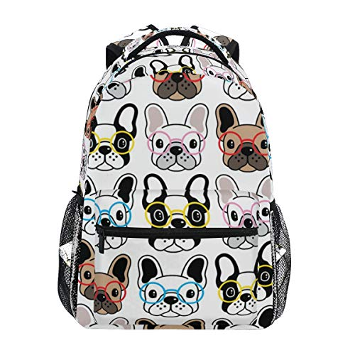 Cute Colorful French Bulldog Puppy Dogs Backpacks Travel Laptop Daypack School Bags for Teens Men Women