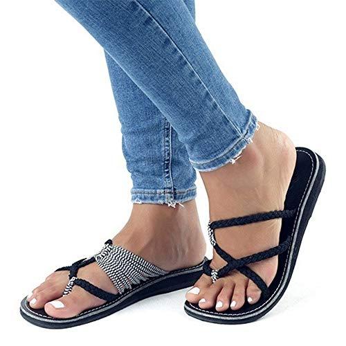AARDIMI Sandalen Damen Frauen Flip Flops Kreuzband Geflochtene Sandalen Roman Schuhe Sommer Woven Strap Mode Strand Hausschuhe Flacher Anti Rutsch (41 EU, Schwarz 2)