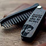 Wooden Beard Comb for Men - Personalized Folding Pocket Comb for Moustache, Beard & Hair. Walnut Combs Engraved