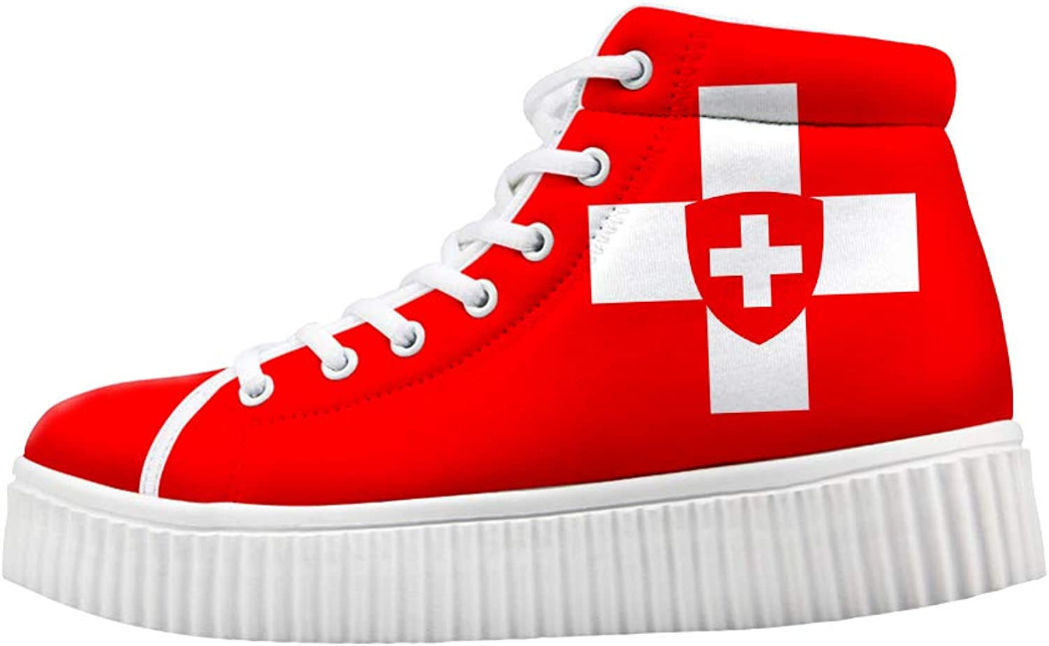 Owaheson Platform Lace up Sneaker Casual Chunky Walking shoes High Top Women Swiss Flag National Emblem