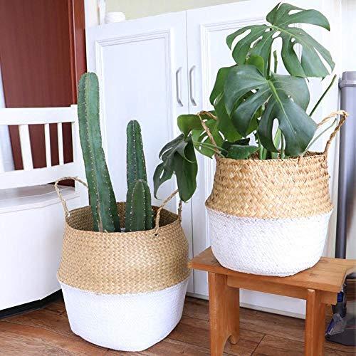 Seagrass Basket Handmade Natural Woven Straw Belly Storage Basket Garden Flower Plant Pot Folding Laundry Wicker Rattan Basket,CHINA,L