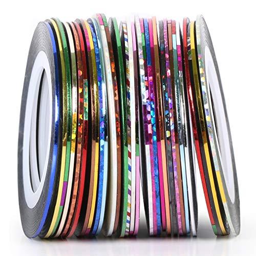 TRIXES 30 adesivo strisce colorate per decorazione nail art - bobine di strisce adesive colori assortiti per unghie naturali e finte - Sticker autoadesivi opachi e glitterati per nail design