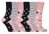 Gentle Grip - calcetines mujer sin goma colores fantasia estampados de algodon tamaño 37-42 eur (GG169 Dogs/Cats)