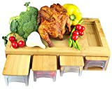 Bamboo Cutting Board with Drawers/Trays/Containers/Storage and Lids Chopping board with juice grooves, handles & food sliding opening, cutting board with 4 trays for easy food prep and cleanup