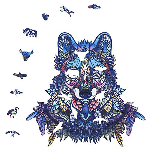 XINGNUANSI Wooden Puzzles for Adults-Unique Wooden Puzzle Animal Jigsaw Puzzles Mysterious Wolf Puzzles Gift for Adults Kids Educational Puzzle Gift Interactive Toy,Magic Toys,9.99x9.6 Inch,158 Piece