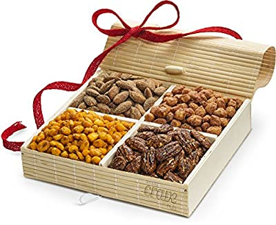 Gourmet Nut Gifts – 4 Sectional Wooden Nut Gift Box, Mixed Nuts Gift Baskets, Nut Gift Tray Assortment by Simply Crave