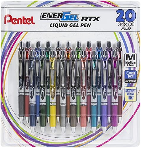 Pentel EnerGel RTX Retractable Liquid Gel Pen .7mm 20/Pkg-Assorted Colors