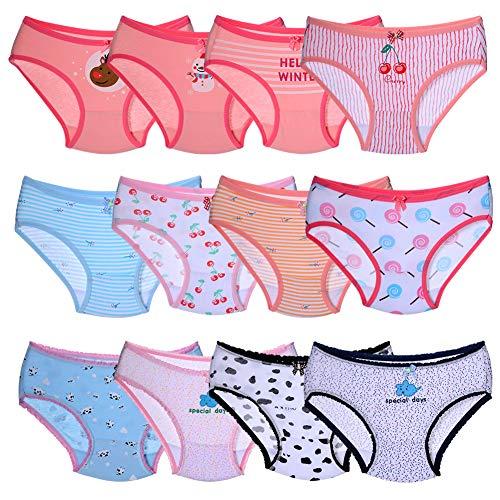 Kidear Kinder-Unterhosen, Unterwäsche aus Baumwolle, 12-teilig, für Kleinkinder und Kinder von 2-10 Jahren Gr. 8-10 Jahre, mehrfarbig