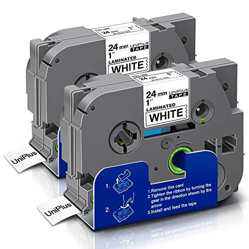 UniPlus 2x Tze-251 Tze 251 Tze Tape 24mm Nastro Laminato Nero su Bianco Nastri per Etichette Compatibile per Brother P-Touch PT- D600VP E550WVP PT-P700 PT-P750W PT-E550W P900W P950NW H500LI, 24mm x 8m