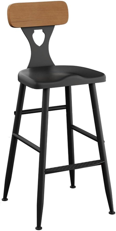 Barstool Iron Bar Chairs Bar Chair Home Backrest Chair High Stool Bar Stool Solid Wood High Chair (color   B, Size   65CM)
