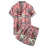 DLDL El Traje de Camisa y Pantalones Cortos Hawaianos para Hombre se Puede Usar para Vacaciones en la Playa y Ropa Informal para el hogar,Pink-M