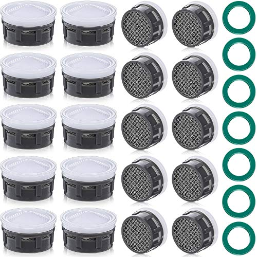 20 Pieces Faucet Aerator Faucet Flow Restrictor Insert Faucet Sink Aerators Replacement Parts with 7 Pieces Rubber Washers for Bathroom or Kitchen (18 mm, White)
