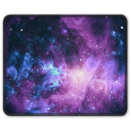 Auhoahsil Mouse Pad, Square Outer Space Mousepad Anti-Slip Rubber Mouse Mat with Durable Stitched Edge for Office Gaming Laptop Computer PC Men Women Kids, 11.8 x 9.8 in, Custom Galaxy & Stars Design