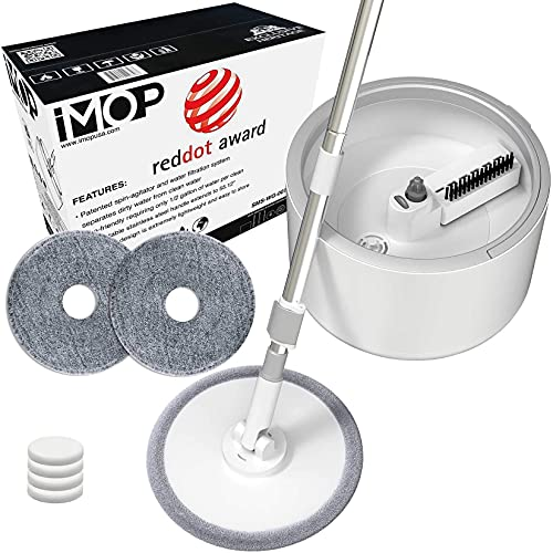 iMop Microfiber Spin Mop with Patented Bucket Water Filtration – Self Wringing Wet Dry All-in-One Spin Mop with Extra Refills – Safe on All Floor Types: Hardwood, Marble, Tile, Vinyl, and Laminate