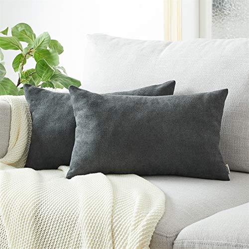 Topfinel Kissenbezüge Einfarbig Chenille Dekokissenhülle mit Verstecktem Reißverschluss für Sofa Auto Bett 2er Set 50x70 cm Signalschwarz