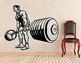Wandaufkleber Bodybuilding Home Art Dekoration Gewichtheben Wandbild Tapete Vinyl 69 * 57 cm