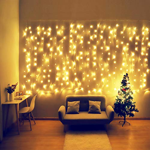 Fiee Curtain Lights,13ftx6.5ft Safety Window Curtain Icicle String Lights with Memory 30V 8 Modes for Christmas Wedding Party Family Patio Lawn Decoration(Warm White)