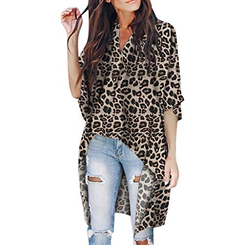 LeeMon Kleid Damen Leopard Kurzarm-T-Shirt? LeeMon Frauen V-Ausschnitt Irregular Kurzarm T-Shirt mit Leopardenmuster Top Blusen
