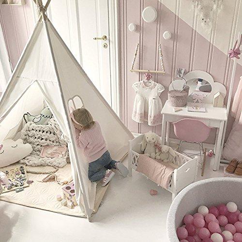 キッズテント子供用ティピーテントおもちゃハウス簡単に組立ポータブル100%コットン製秘密基地お誕生日・クリスマスプレゼントWilwolfer(白い)
