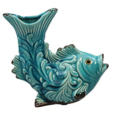 Beachcombers Teal Tropical Fish Sculpted Vase Ceramic Tabletop Decor 7.75 Inches
