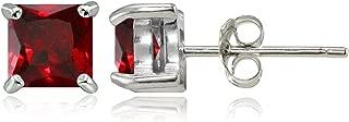 Sterling Silver Genuine, Created or Simulated Birthstone Gemstone 5mm Square Stud Earrings