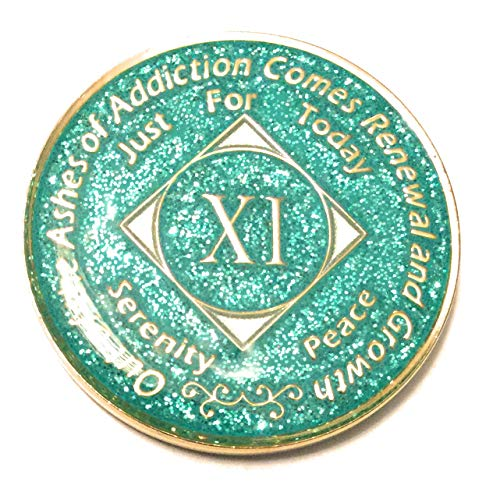 11 Year NA Aqua,Turquoise, Glitter Bling, Glitter, Recovery, Clean, Medallion - Chip, Coin, Token