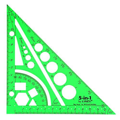 Linex 5-in-1 EASY-Kordel zum Zeichnen Aid Lineal Geodreieck Winkelmesser Kompass getöntes grün Ref LXG5IN1