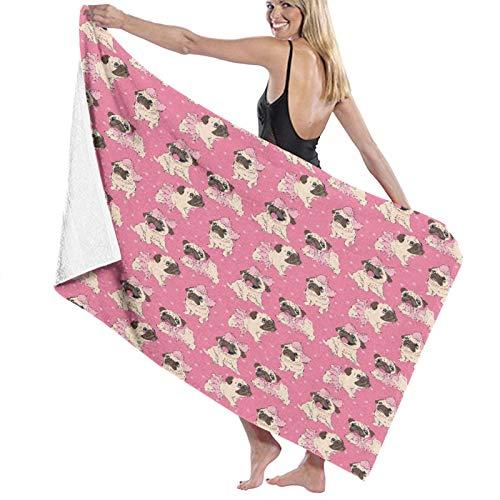Grande Suave Toalla de Baño Manta,Cachorros de Pugs de Dibujos Animados Divertidos en un tutú de Bailarina y con un Lazo en un Rosa,Hoja de Baño Toalla de Playa por la Familia Viaje Nadando,52' x 32'
