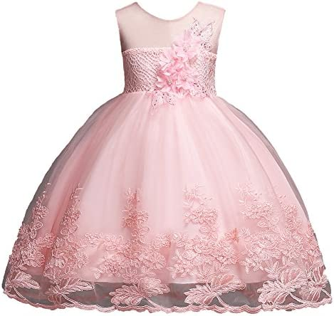FKKFYY Sleeveless Dress for Girls Size 6 7 Blush Pink Sequin Pageant Party Holiday Graduation product image