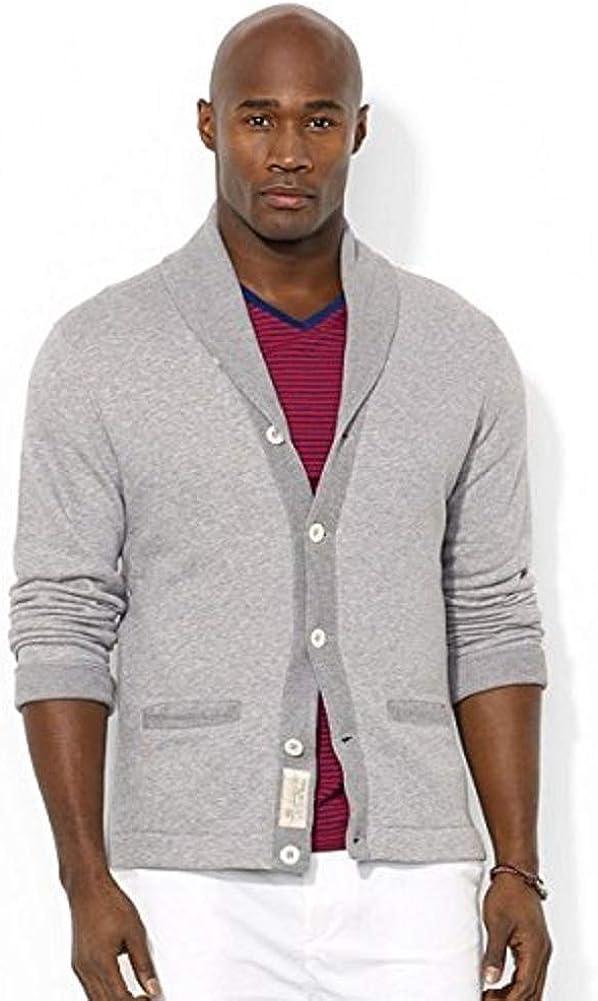 100% quality warranty Ralph Lauren Polo Big Fashion and Tall in Terry Cardigan Gray Pima Shawl