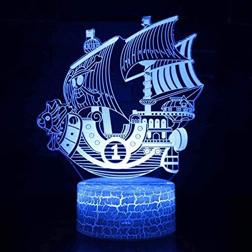 Ilusión óptica Luz Noche One Piece Thousand Sunny Modelo 3D Lámpara Decoración de dormitorio para niños Luces de barco con control remoto para niños Navidad