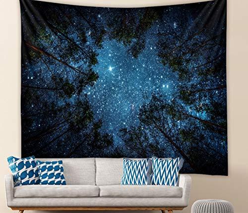 Cielo Estrellado Azul Tapiz Colgante De Pared Dormitorio Sala De Estar Decoración De Pared Tapices Estera De Yoga Toalla De Playa Manta Mantel 150X200Cm
