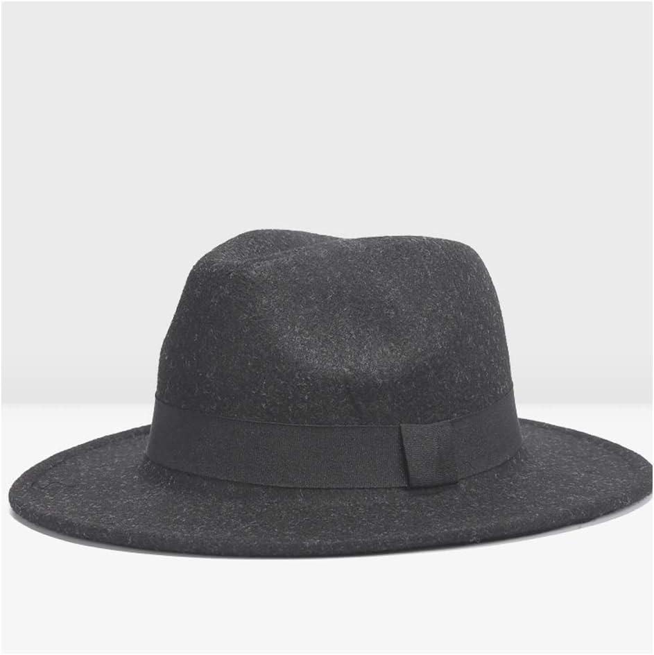 ZLQQLZ Women Cap Retro Fedora Hat Female Autumn Winter Jazz Hat Male Woolen Full Hat Hat Distaff Retro Tide Hat (Color : Black, Size : 56-58CM)