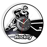 Reloj de Pared Vinyl LP del Jugador de Hockey Equipo de Hockey sobre Hielo Casco de Palo Reloj de Pared Moderno Estadio de casa Decoración Interior para Atletas 12 Pulgadas