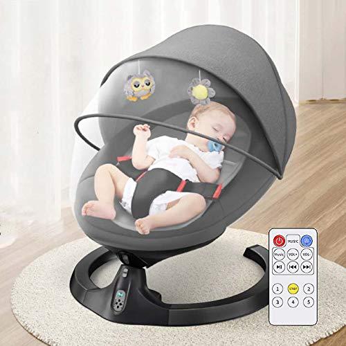 Balancines eléctricos con Control Remoto, Columpio eléctrico para bebés, Silla balancín Inteligente con mosquitera, Respaldo Ajustable de 7 velocidades,Black