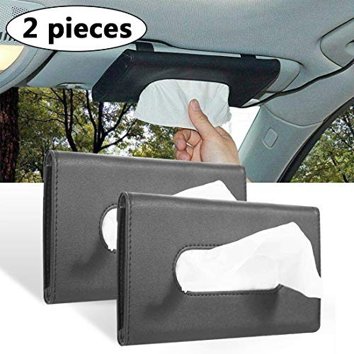 2Buyshop 2 Pack Car Tissue Holder, Sun Visor Napkin Holder, Tissue Box Holder, PU Leather Tissue Box, Backseat Tissue Purse Case Holder for Car (Black)